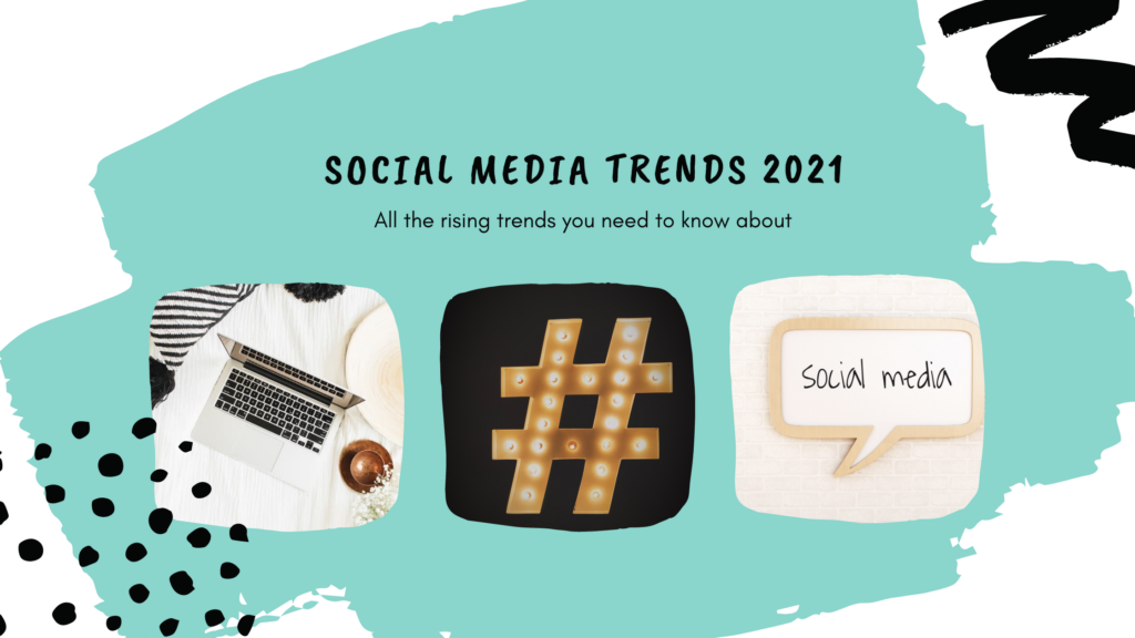social media trends, all the rising trends you need to know about, laptop, apple, hashtag, social media, blue, white, black